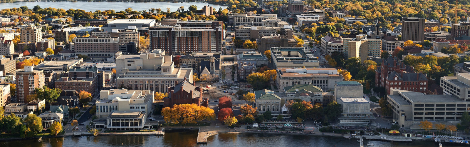The Lake Mendota shoreline is pictured in an aerial view